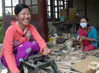 Women at the bamboo workshop in Tánh Linh