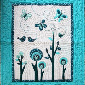 Birds and butterfly baby quilt-0