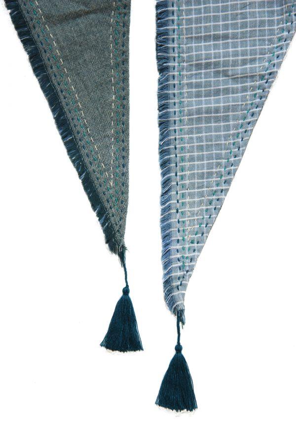 Hmong Star Topstitch Triangle Scarf-907