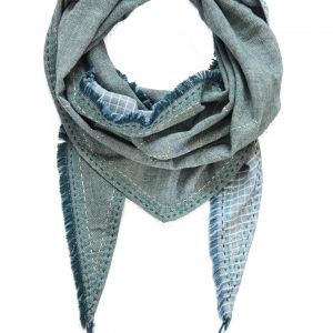Hmong Star Topstitch Triangle Scarf-0